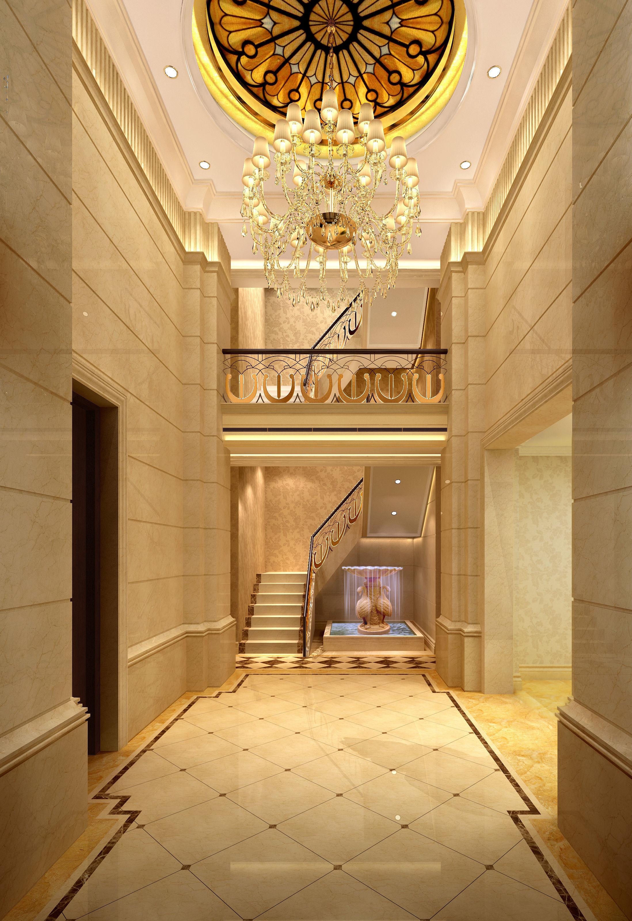 European villa foyer rendering plan