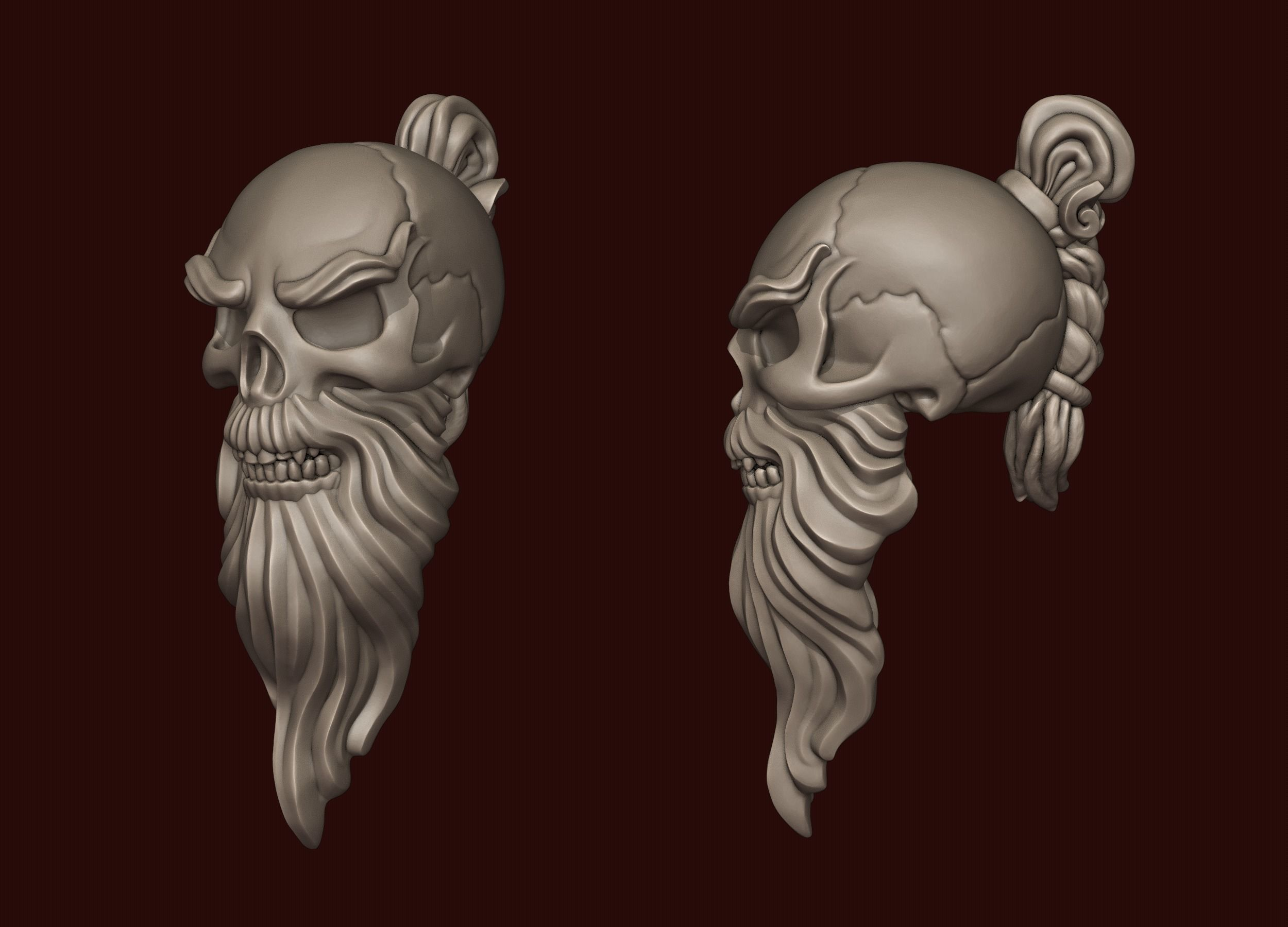 Skull Sensei with a beard and a pigtail