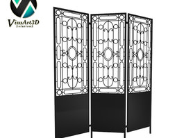 furniture 10 Three panel Metal Screen 3D Model