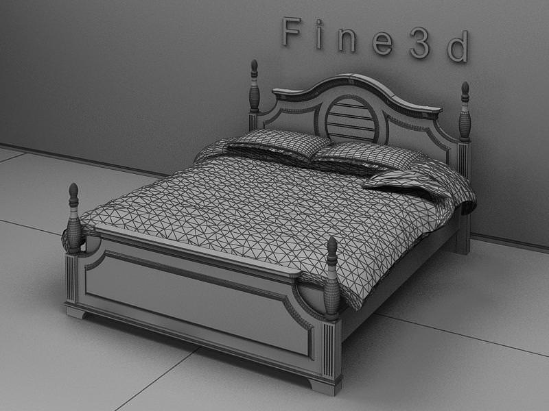 Double bed 3d model max obj 3ds for 3ds max bed model