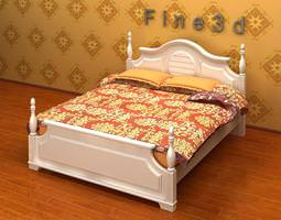 linens Double Bed 3D