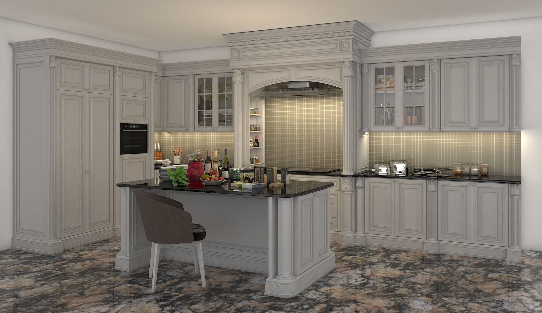 Fine Classic Kitchen Cabinet 2 3D Model Download Free Architecture Designs Scobabritishbridgeorg