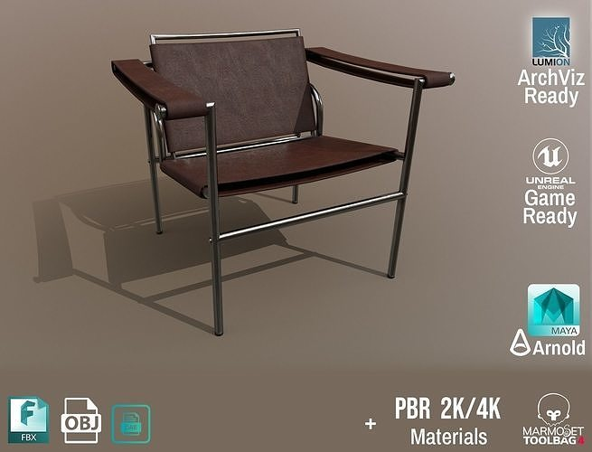 Chair Thonet Le Corbusier PBR - Dark Leather -  ArchViz Game