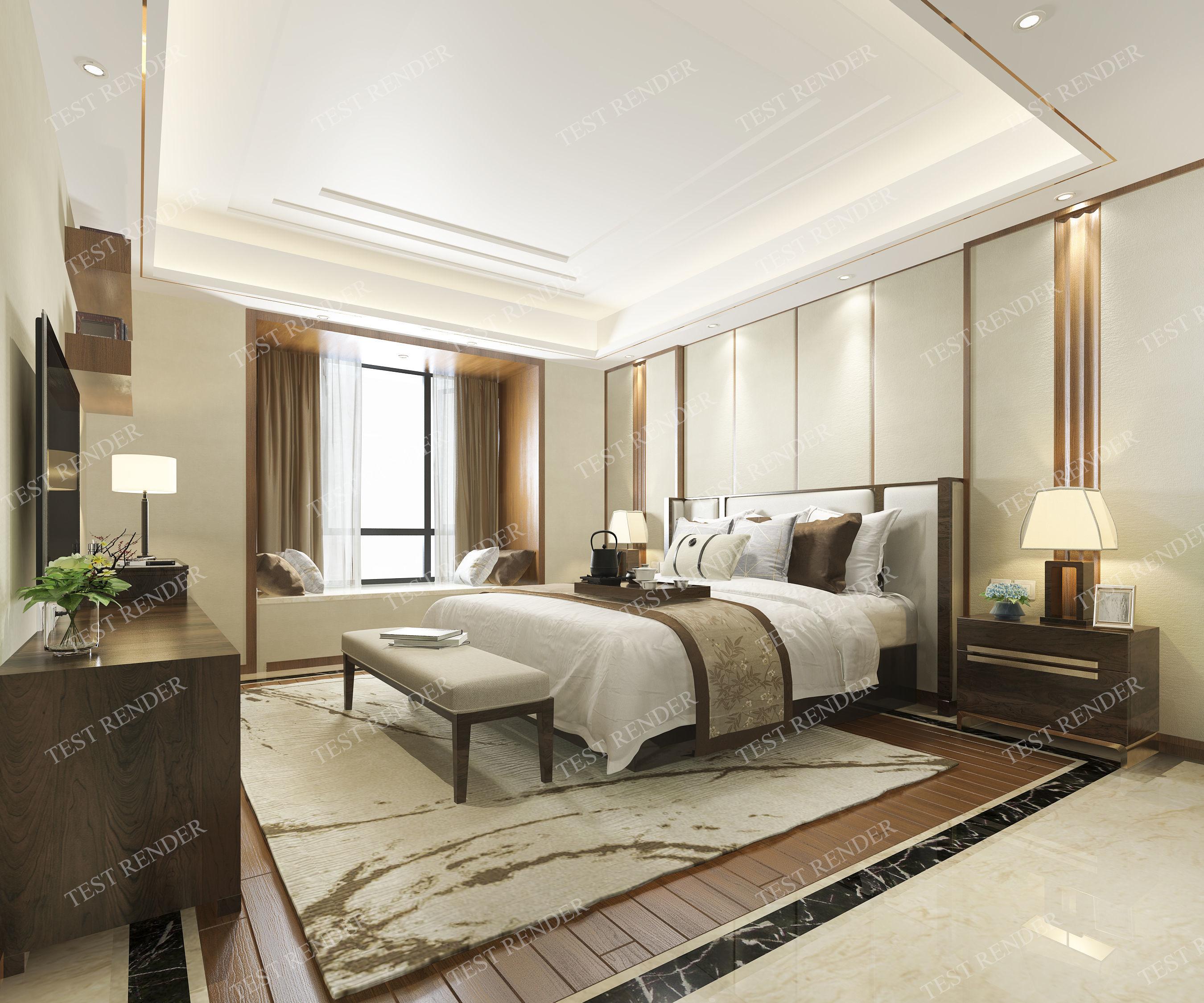 luxury classic modern bedroom suite in hotel window 3D