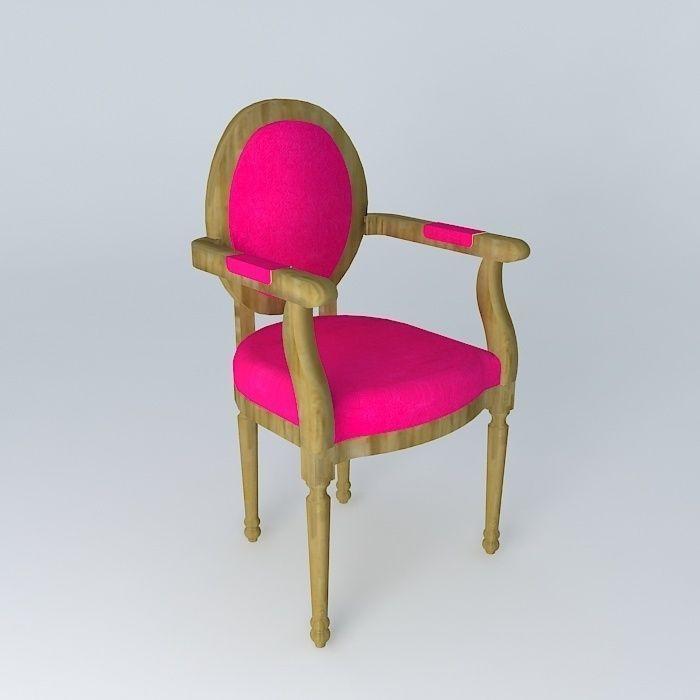 Louis Fuchsia Chair Maisons Du Monde 3d Model Max Obj 3ds Fbx Stl Dae 1 ...
