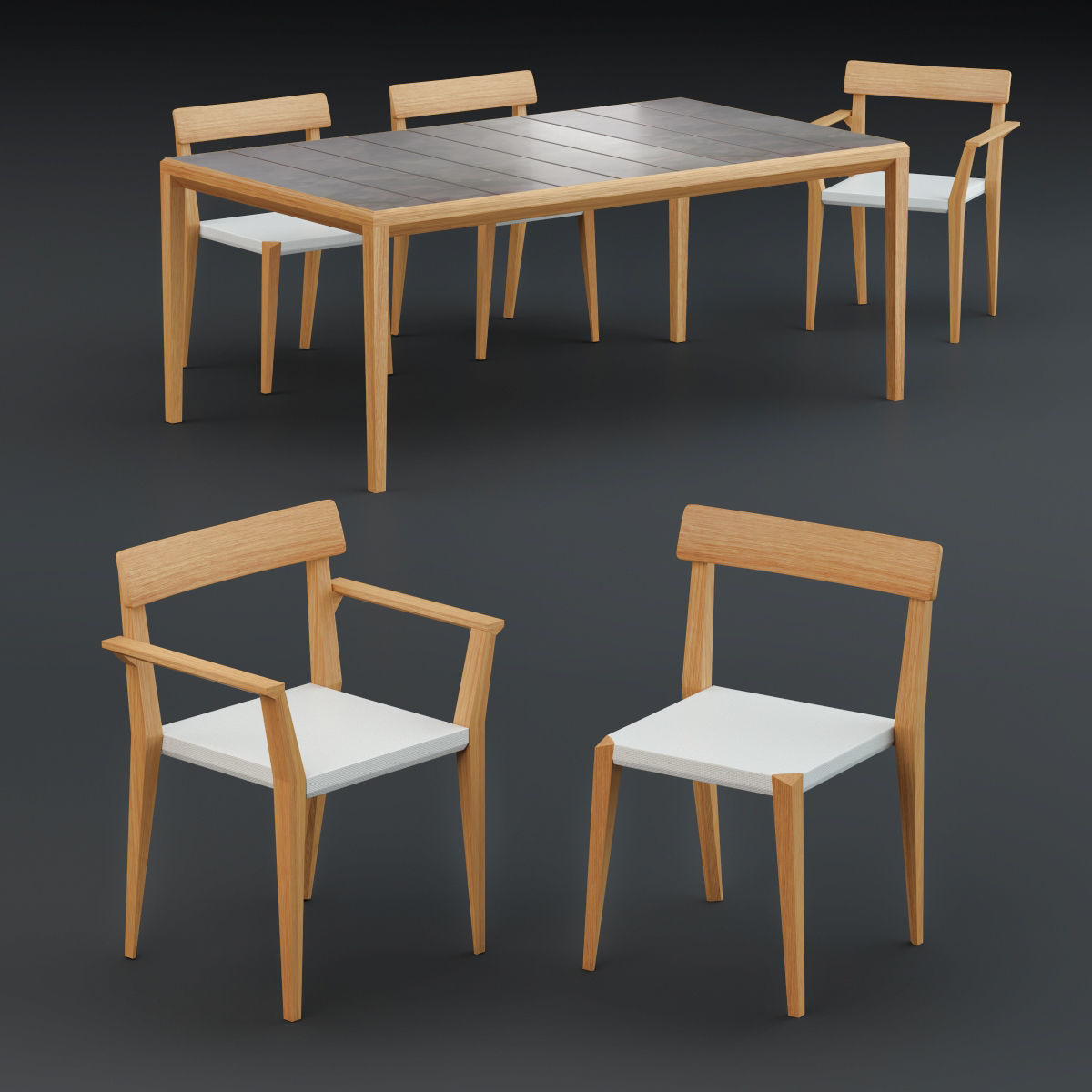 Roda Teka Dining Table and Chair