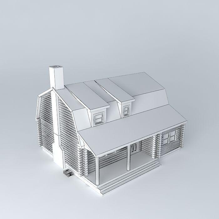 Log Cabin House 3d Model Max Obj 3ds Fbx Stl Dae 4