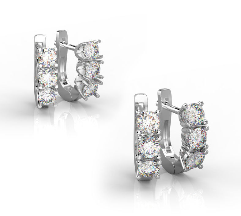101004 E 2 types of classic earrings with 3 gems