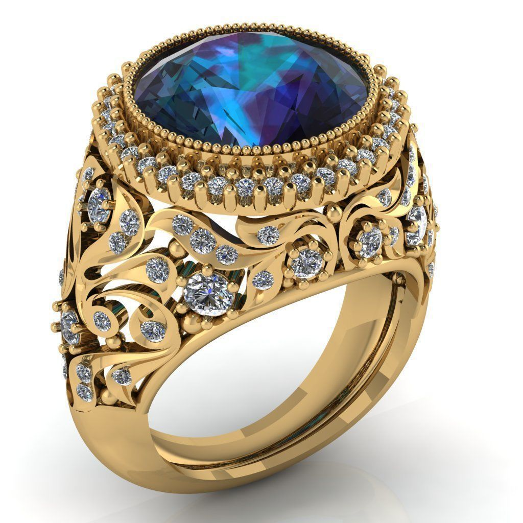 Beautiful female luxury ring with leaves 3D print model