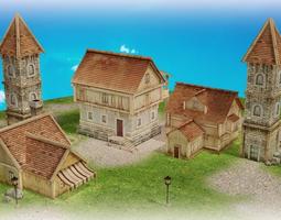 medieval village part 1 3d model low-poly max fbx