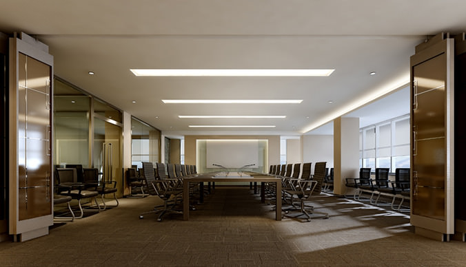 spacious conference room 3d model max 1