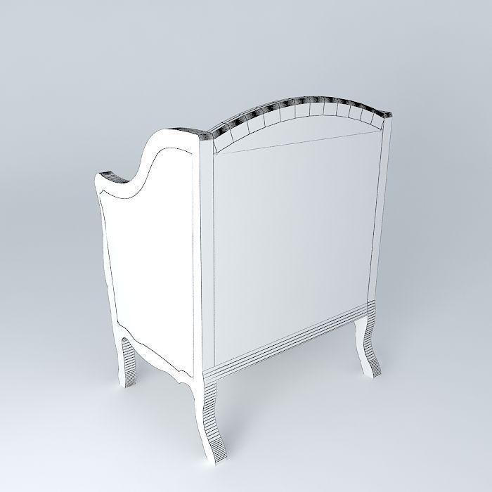 Linen armchair archibald maisons du monde 3d model max obj 3ds fbx stl - Table archibald maison du monde ...