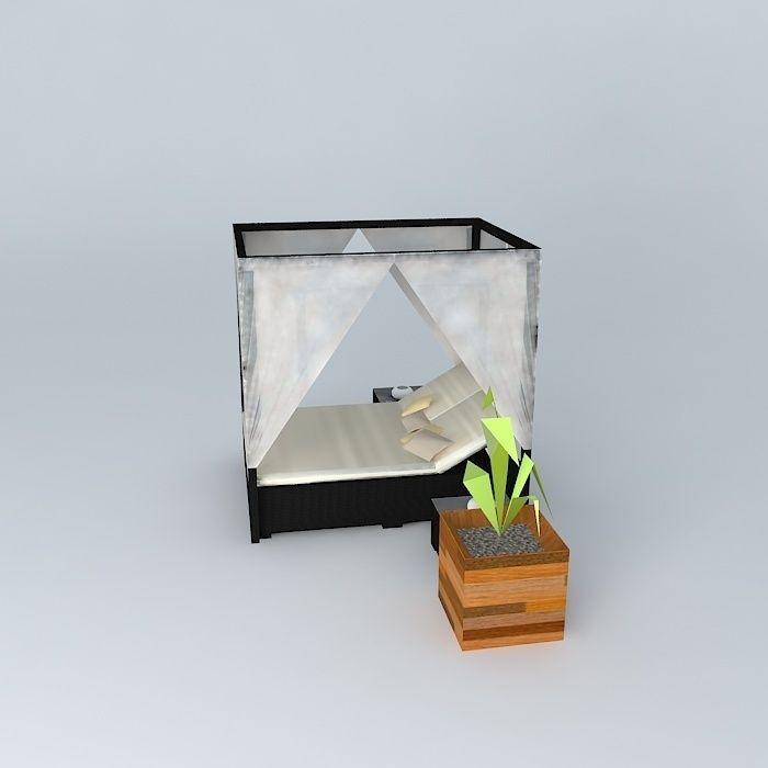 outdoor canopy bed maisons du monde 3d model max obj 3ds fbx stl dae. Black Bedroom Furniture Sets. Home Design Ideas