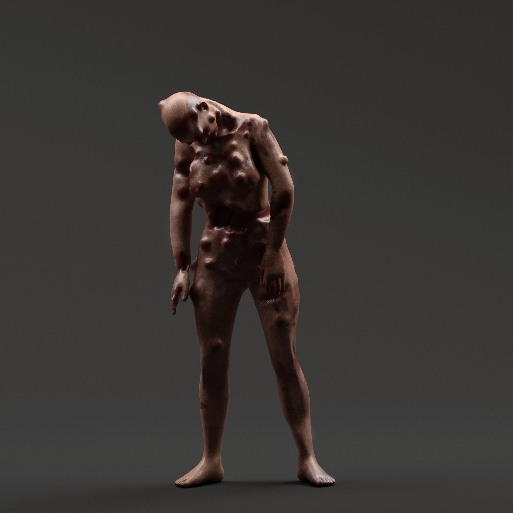 Infected Woman Zombie Character - Rigged - Textured