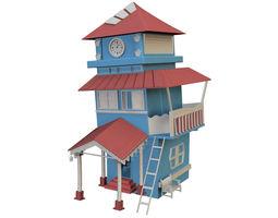 cartoon house blue 3D asset