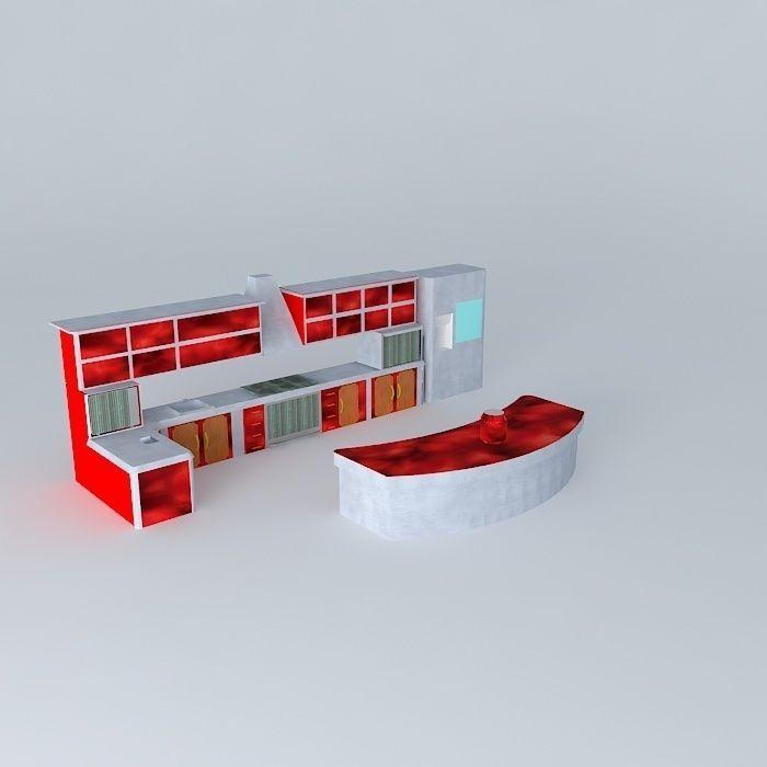 Kitchen set style elcom corp free 3d model max obj 3ds for Kitchen set 3d warehouse