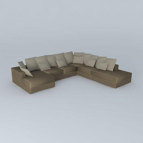 7p taupe sofa loft maisons du monde 3d model cgtrader. Black Bedroom Furniture Sets. Home Design Ideas