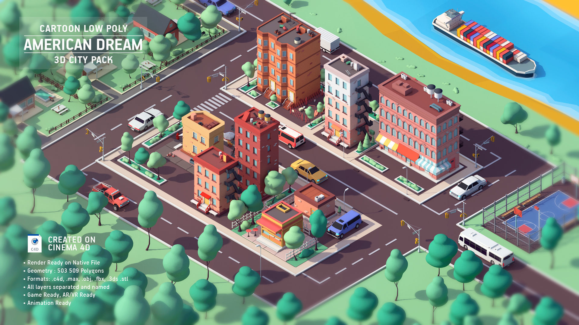 Cartoon Low Poly American Dream City Pack | 3D model