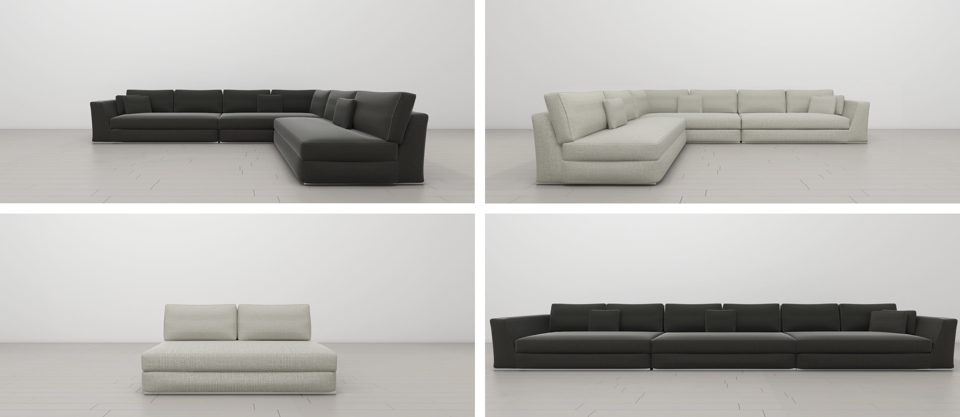 UrbanMod Modern Reversible Sectional Sofa Gray and White | 3D model
