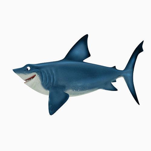 shark cartoon 3d model low-poly obj mtl fbx blend 1