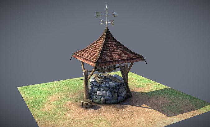 stone well 3d model low-poly obj mtl 3ds fbx blend dae 1