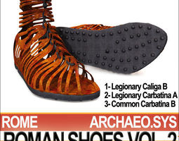 Ancient Roman Shoes Vol 2 Caligae Carbatinae 3D Model