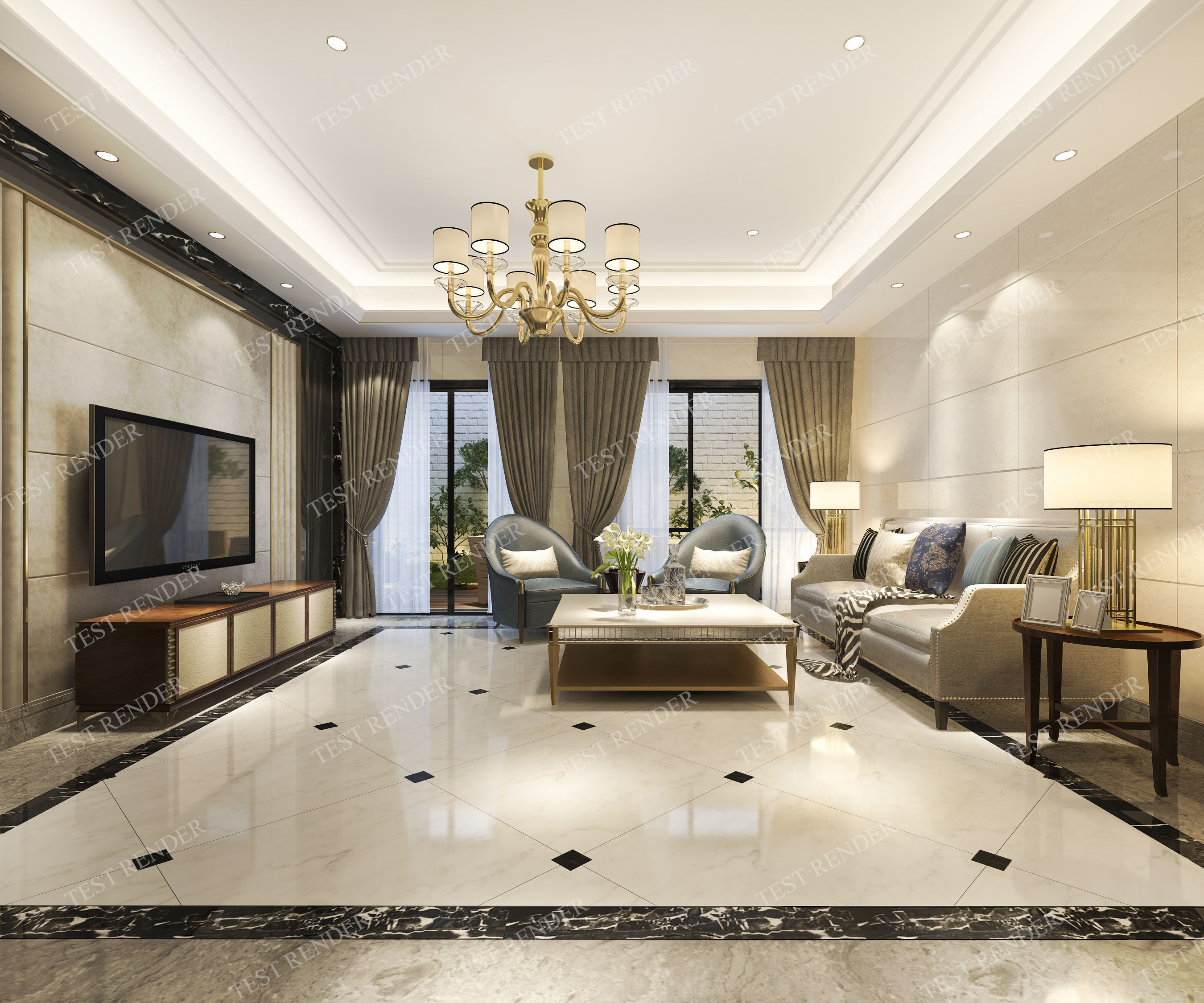 3D model european modern living room with luxury design