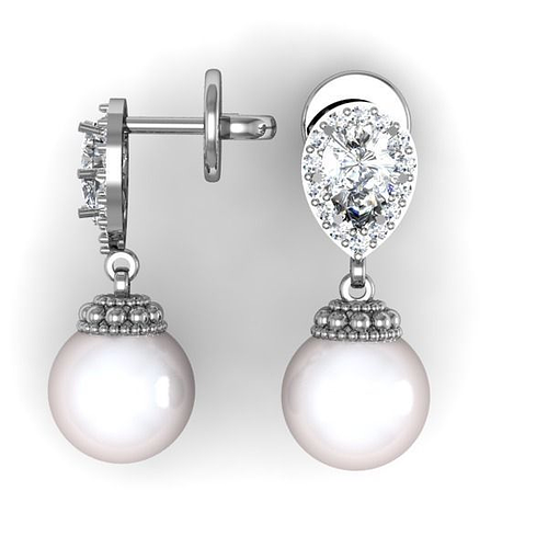 pearl earrings 3d model stl 3dm 1
