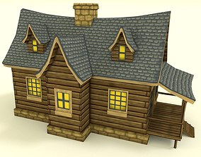 Low Poly Hand Painted House 3D asset