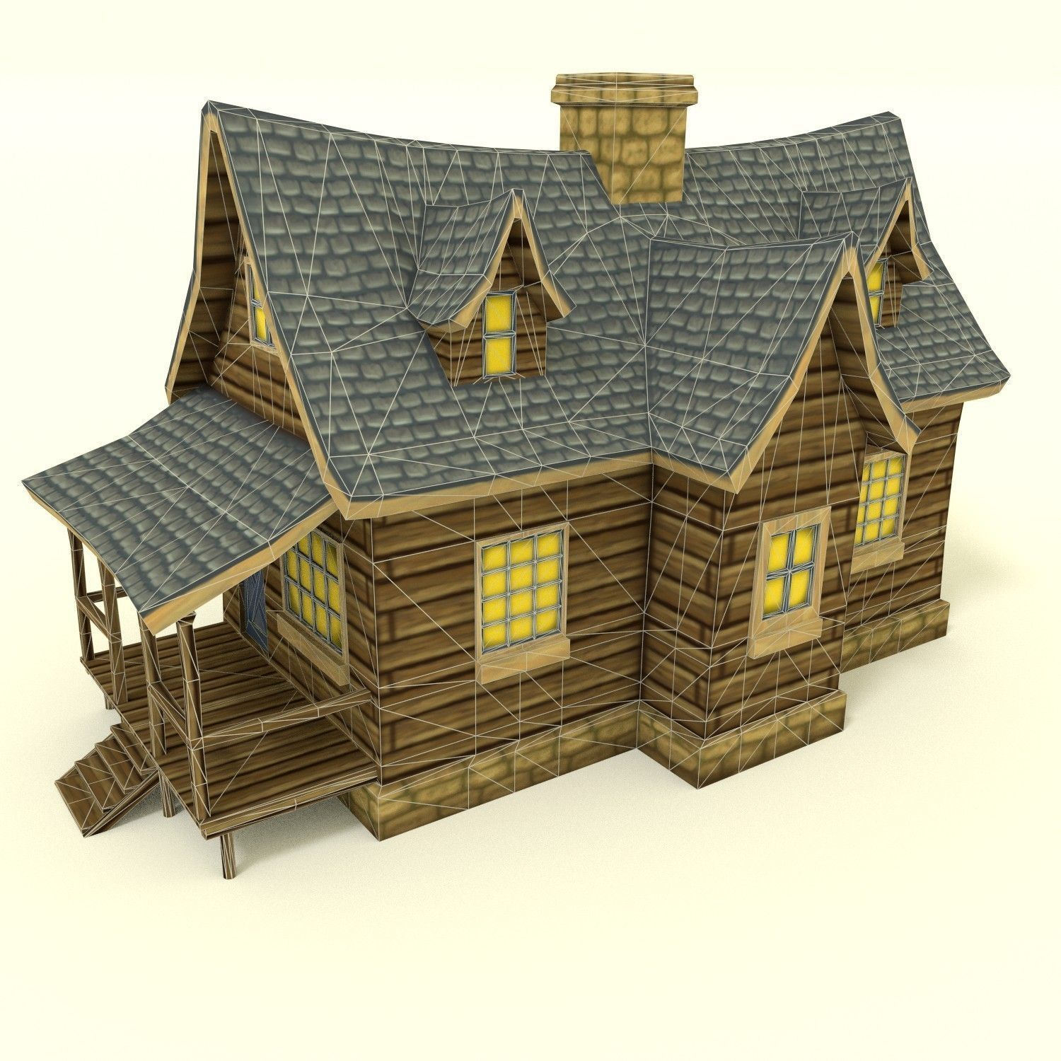 Low Poly Hand Painted House 3d Model Obj 3ds Fbx Blend Dae 3