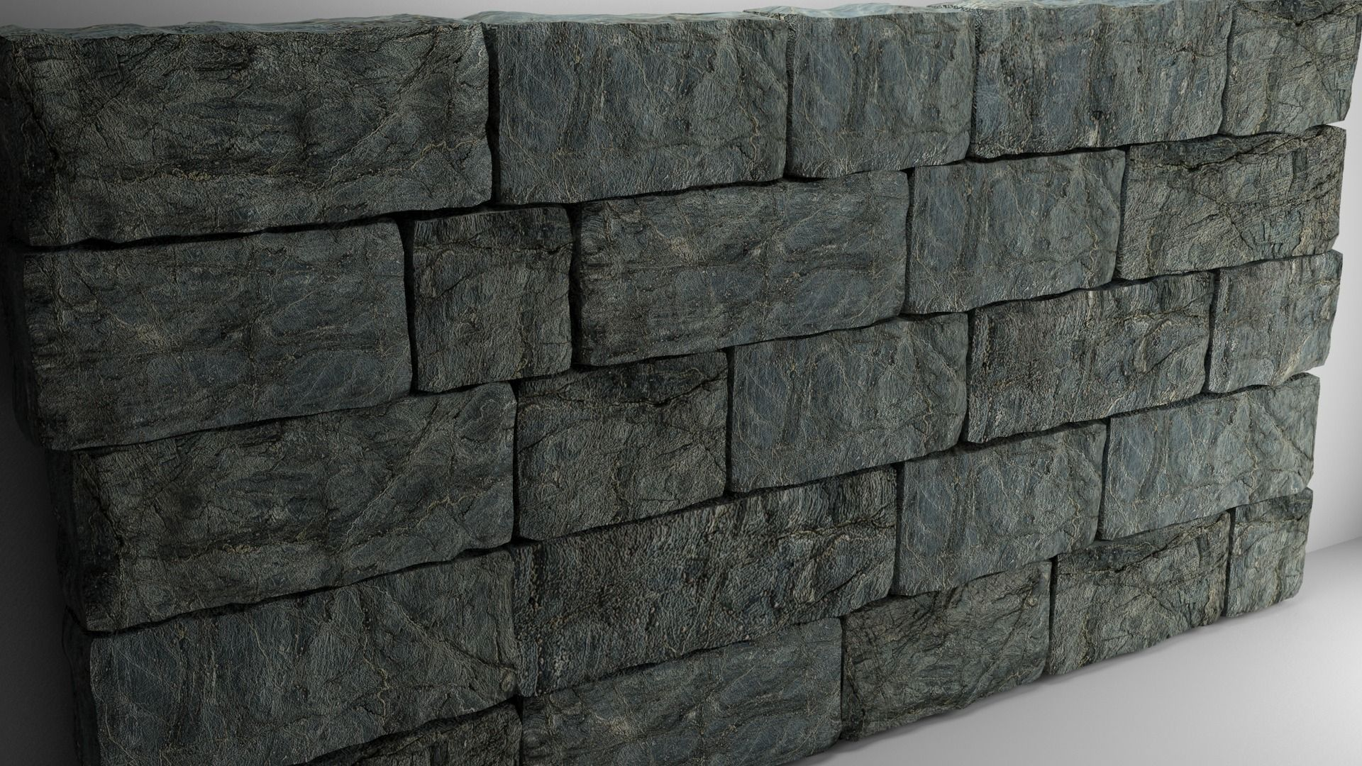 High Poly Natural Stone Wall 3d Model Max Obj Mtl Fbx Stl Tga 1