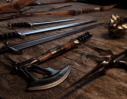 mace Medieval Weapons pack 3D model low-poly