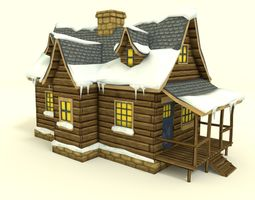 3D asset Low Poly Winter House