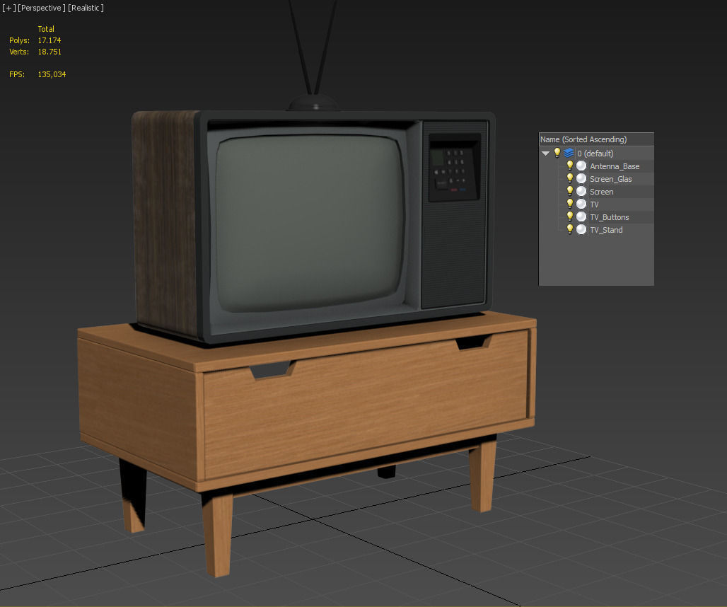 Old Retro TV 3D Model .max .obj .3ds .fbx