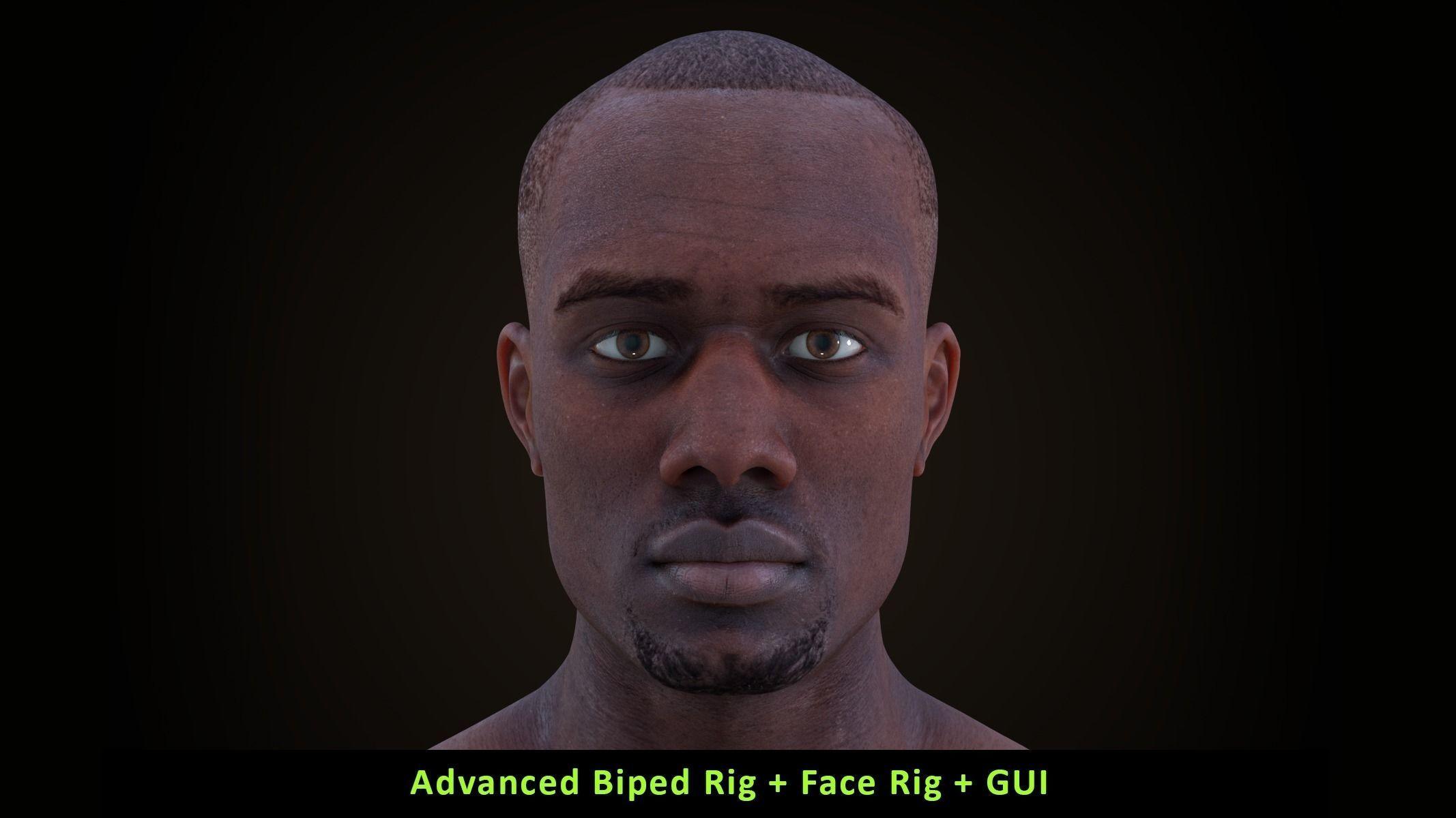 Cinematic Male 002 - Advanced Body Rig - Face Rig - GUI