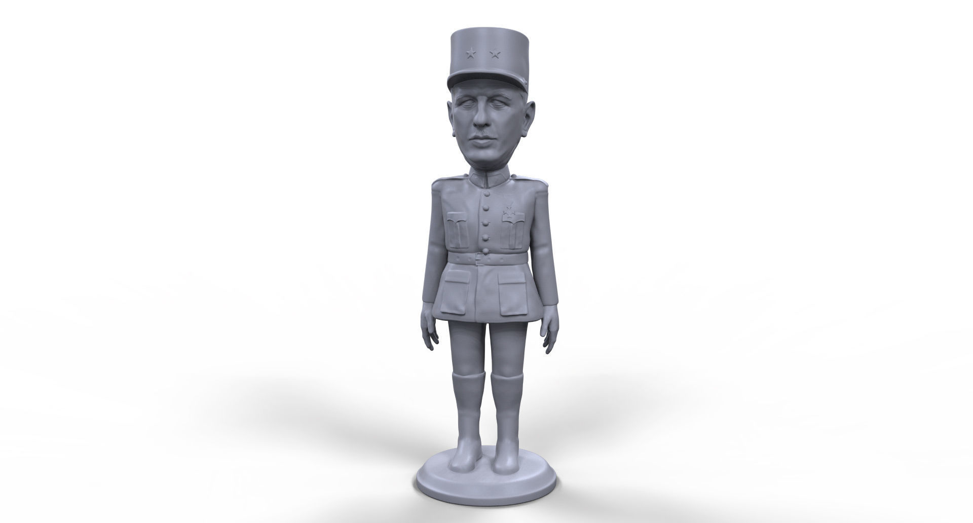 Charles De Gaulle stylized high quality 3D printable miniature