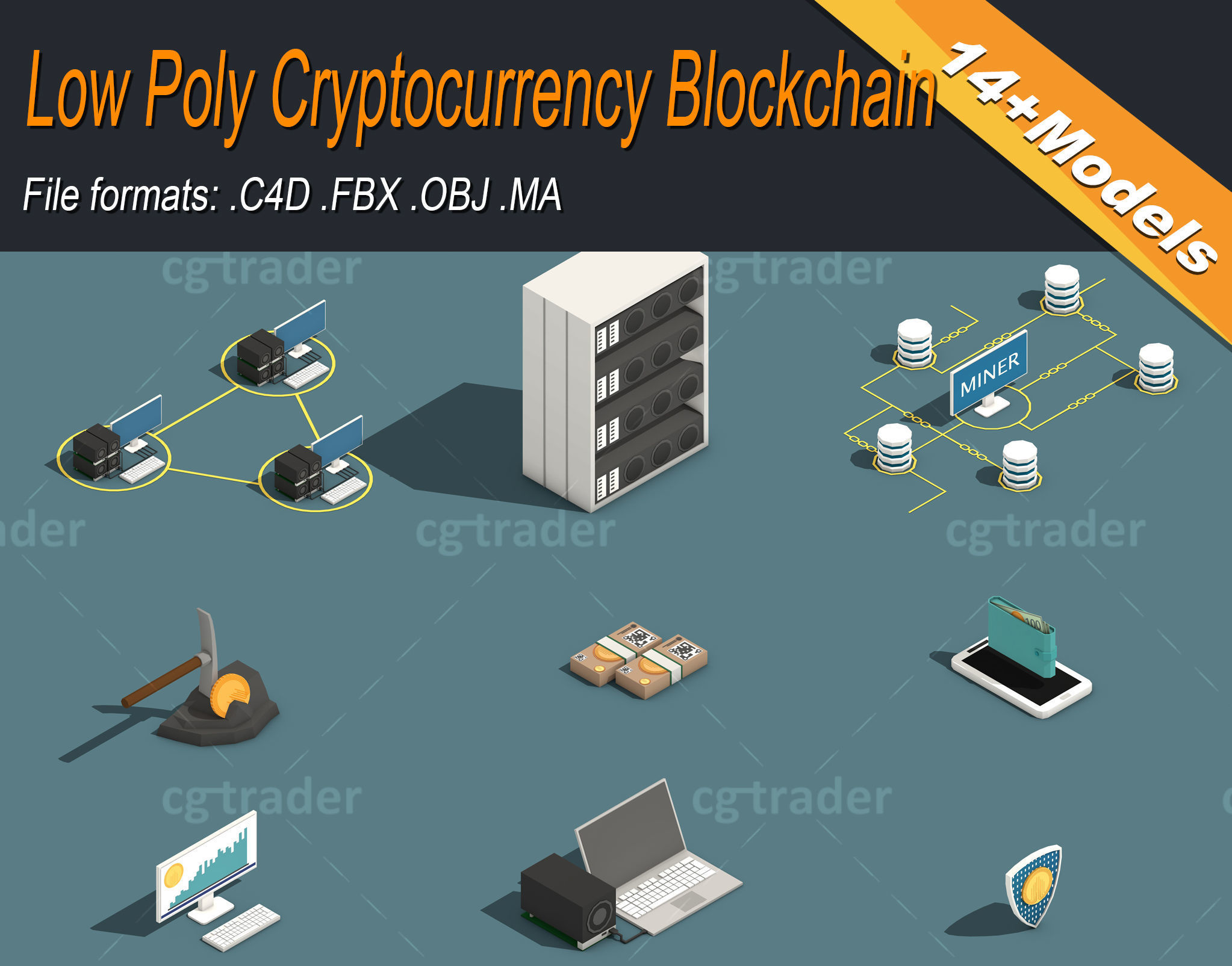 Low Poly Cryptocurrency Blockchain Pack 02