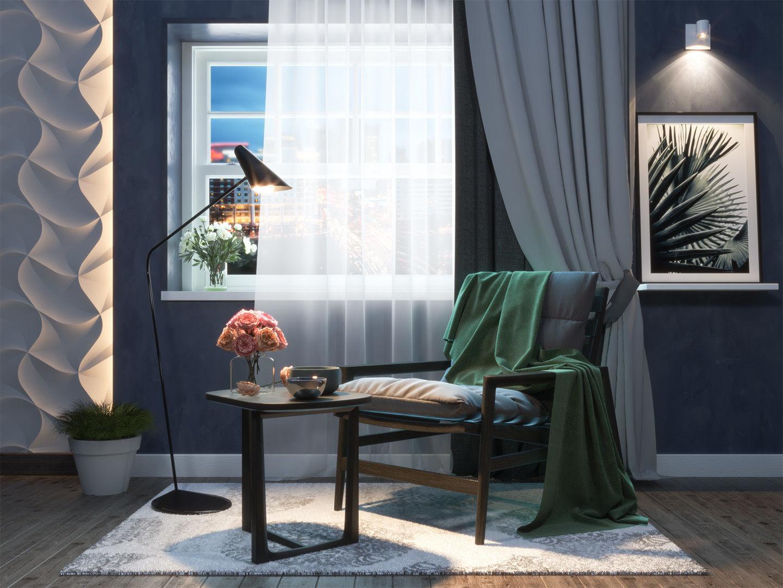 Studio apartment interior scene