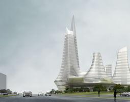 3d model city hotel office building  21