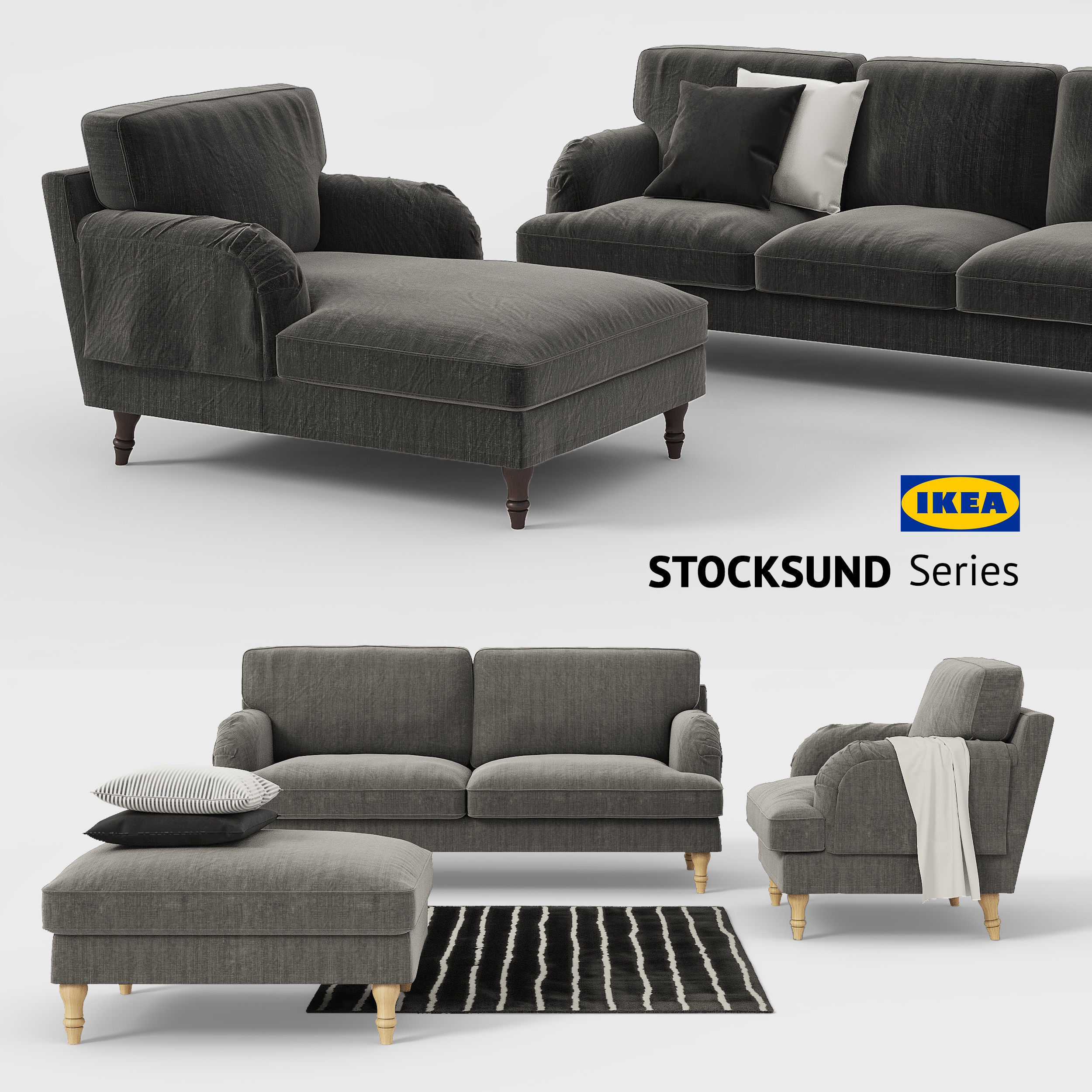 Astonishing Ikea Stocksund Sofa Chair Ottoman Chaise Sofa Cover 3D Model Gmtry Best Dining Table And Chair Ideas Images Gmtryco