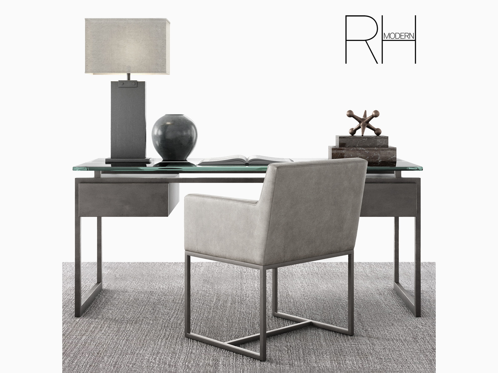 rh latour desk set with emery track armchair and rug 3d model max obj mtl fbx