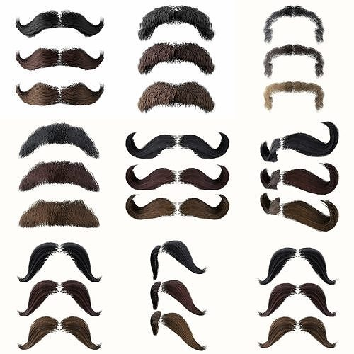 Mustache Low Poly Pack