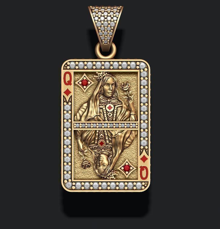 Diamonds queen playing card pendant
