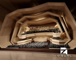 modern concert hall with exotic interior 3d