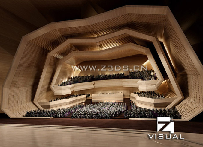 Modern concert hall with exotic interior3D model