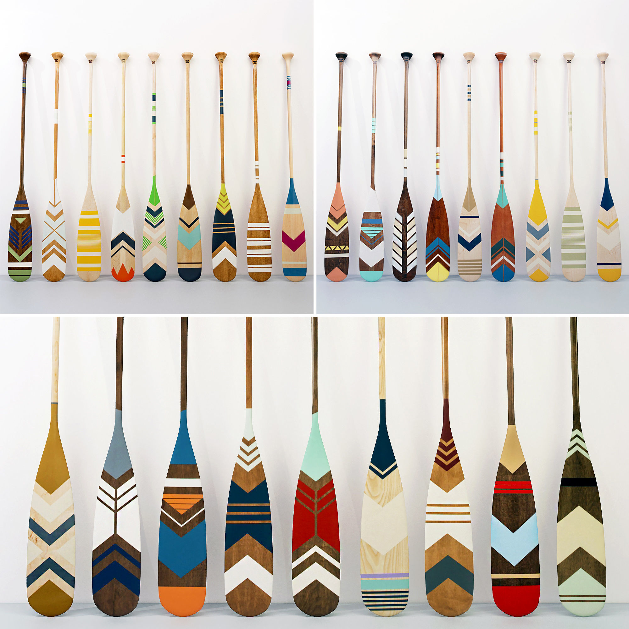 Collection of canoe paddles  27 pieces