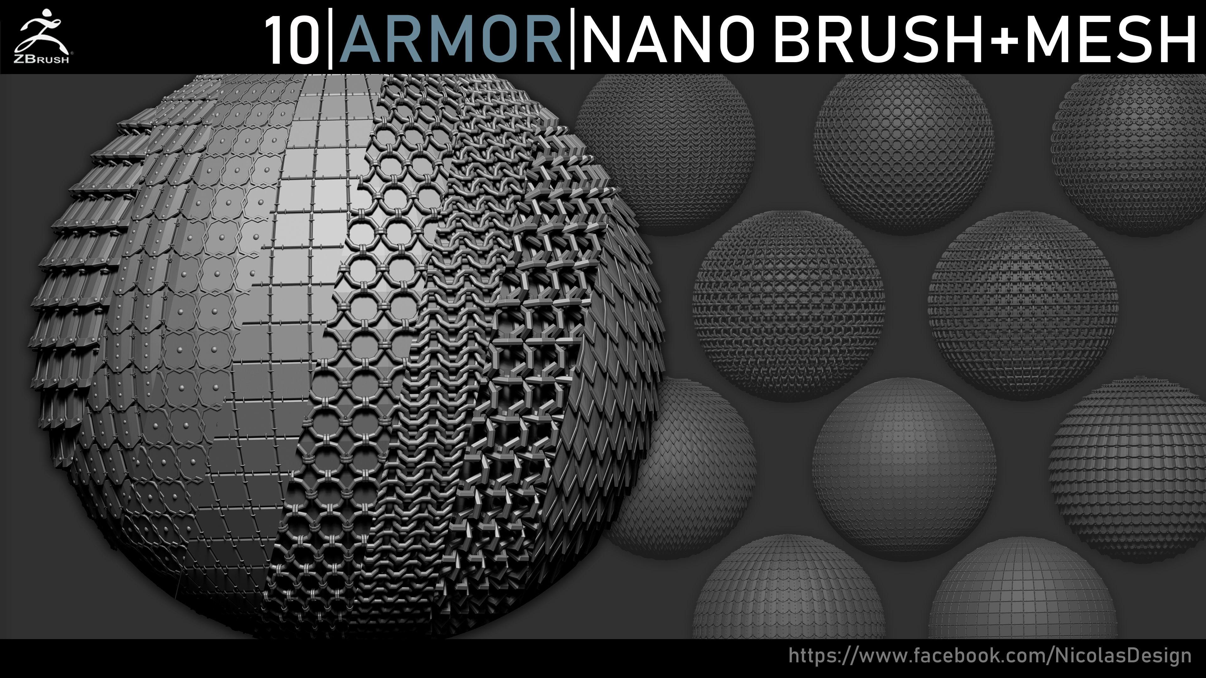 Zbrush - Armor Nano Brush and Meshes | 3D model