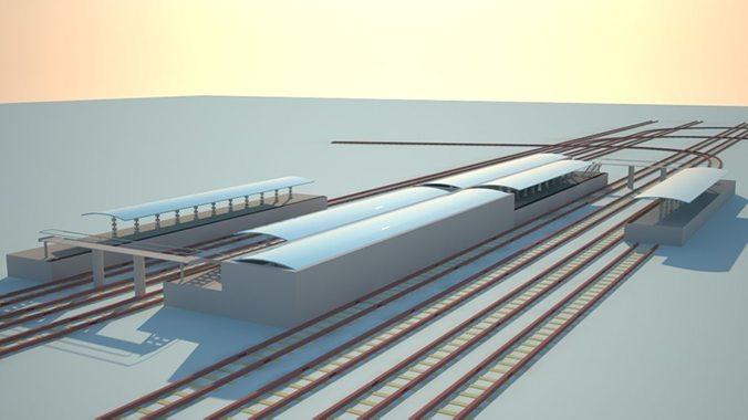 railway station 3d model max obj mtl 1