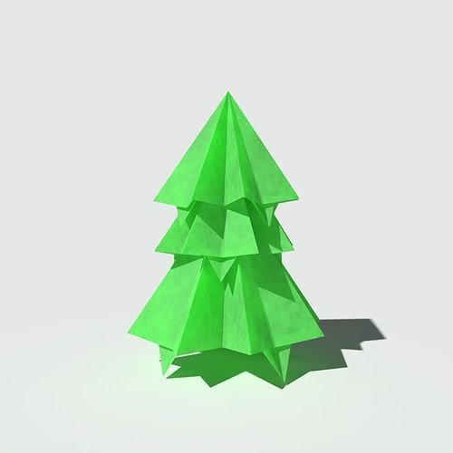 origami pine short 3d model obj mtl 3ds fbx blend 1