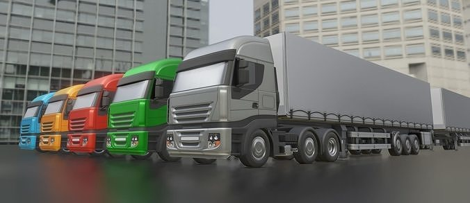 3-axis truck with semitrailer low-poly version   3d model obj mtl 3ds fbx stl blend dae 1